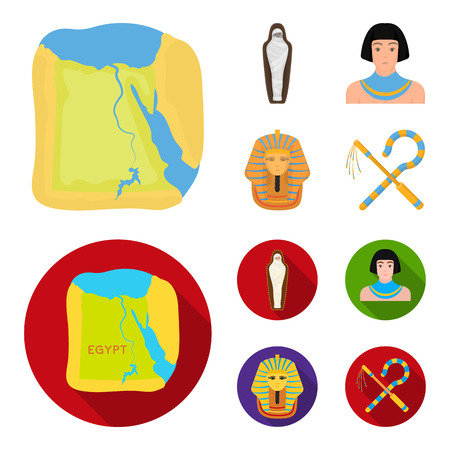 Crook and flail,a golden mask, an egyptian, a mummy in a tomb.Ancient Egypt set collection icons in cartoon,flat style bitmap symbol stock illustration web. Banco de Imagens