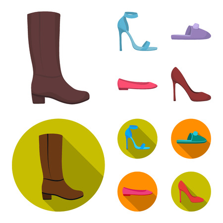 Blue high-heeled sandals, homemade lilac slippers with a pampon, pink women ballet flats, brown high-heeled shoes. Shoes set collection icons in cartoon,flat style bitmap symbol stock illustration web.