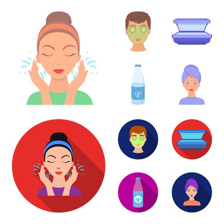 Face mask, solarium, bottle ts lasenom, pimples on face. Skin Care set collection icons in cartoon,flat style bitmap symbol stock illustration web.