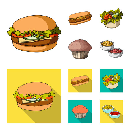 Food, rest, refreshments, and other web icon in cartoon,flat style.Cake, biscuit, cream, icons in set collection. Standard-Bild - 114088501
