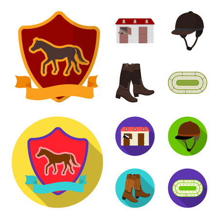 Boots, grass, stadium, track, rest .Hippodrome and horse set collection icons in cartoon,flat style bitmap symbol stock illustration web. Banco de Imagens