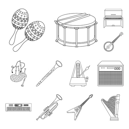 Musical instrument outline icons in set collection for design. String and Wind instrument bitmap symbol stock web illustration.