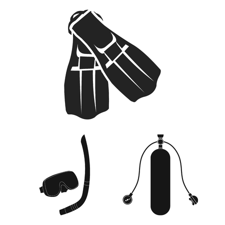 Illustration of dive and scuba icon.