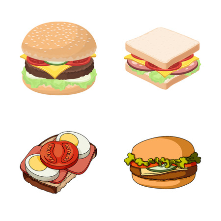 Vector illustration of sandwich and wrap logo. Collection of sandwich and lunch stock vector illustration. Ilustrace