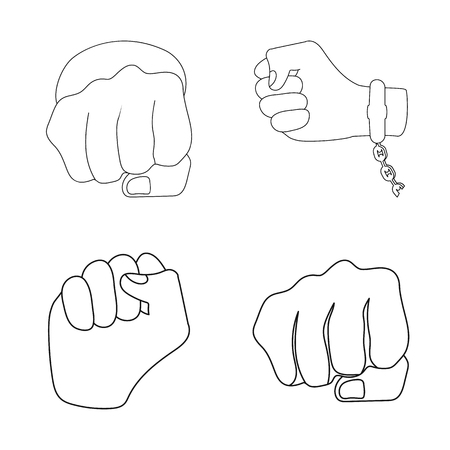 Isolated object of fist and punch logo. Collection of fist and hand stock symbol for web.