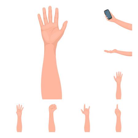 Oggetto isolato del simbolo animato e del pollice. Insieme di simbolo di borsa animato e gesto per il web.