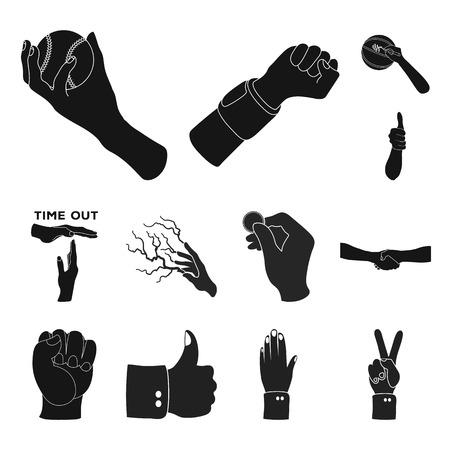 Objeto aislado de icono animado y pulgar. Colección de iconos vectoriales animados y de gestos para stock.