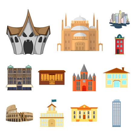Vektordesign von Gebäude und Stadt. Sammlung von Gebäude- und Geschäftsvorrat-Vektorillustration.