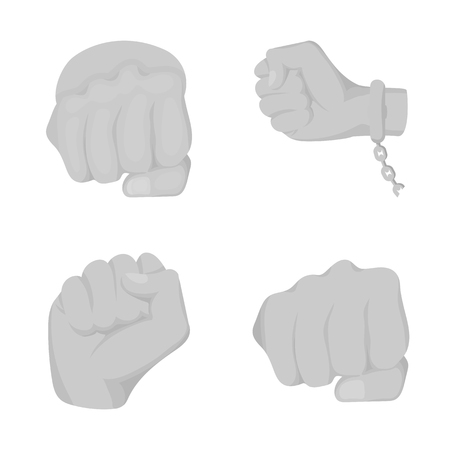 Isolated object of fist and punch sign. Collection of fist and hand stock symbol for web.