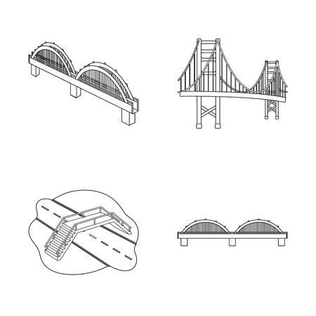 Vector illustration of bridge and construction icon. Collection of bridge and arch vector icon for stock.