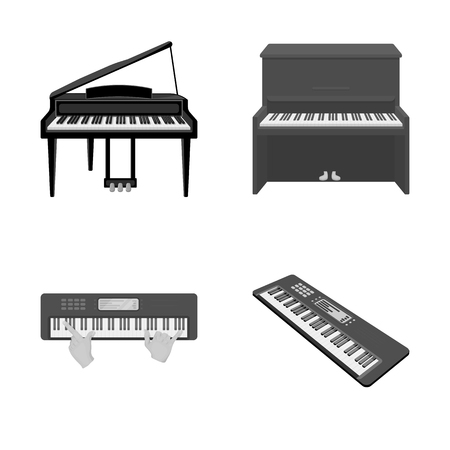 Vector design of music and piano logo. Collection of music and song vector icon for stock. Illustration