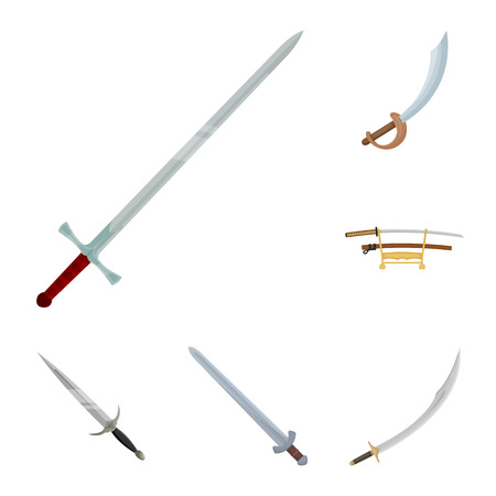 Vector design of sword and blade logo. Set of sword and game  stock symbol for web.