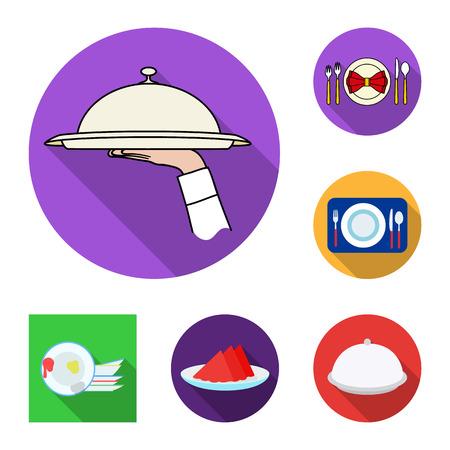 Illustration vectorielle du logo de la plaque et de l'étiquette. Collection de symbole boursier d'assiette et de dîner pour le web.