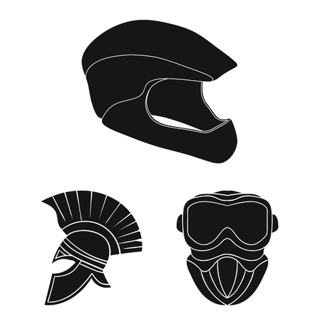 Vector design of helmet and sport icon. Collection of helmet and moto vector icon for stock. Çizim