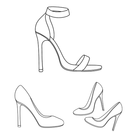 Vector illustration of heel and high symbol. Set of heel and stiletto vector icon for stock.
