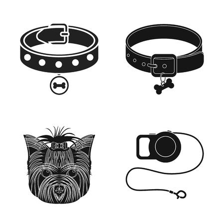 Objeto aislado del icono de mascotas y accesorios. Conjunto de icono de vector de mascota y tienda para stock. Ilustración de vector
