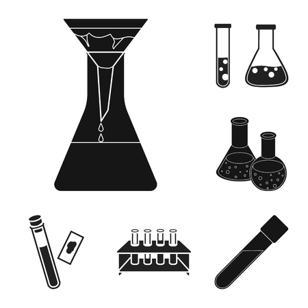Isolated object of flask and laboratory icon. Collection of flask and equipment stock vector illustration. Stock Illustratie