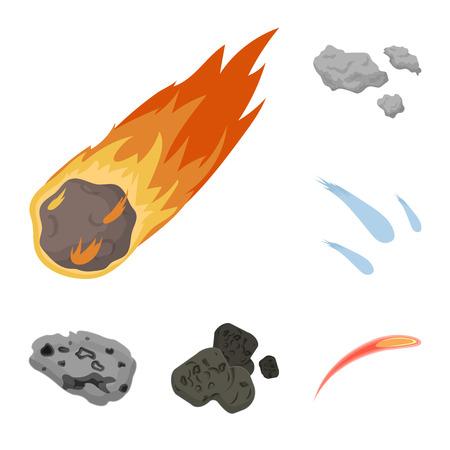 Ilustración de vector de logotipo de tiro y fuego. Conjunto de icono de vector de disparos y asteroides para stock.