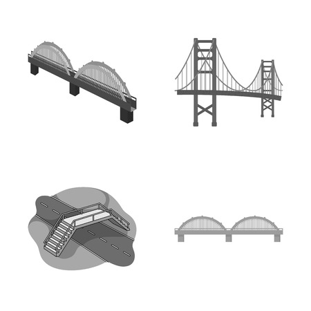 Isolated object of bridge and construction logo. Collection of bridge and arch stock symbol for web.