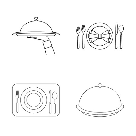 Isolated object of plate and etiquette logo. Collection of plate and dinner vector icon for stock.