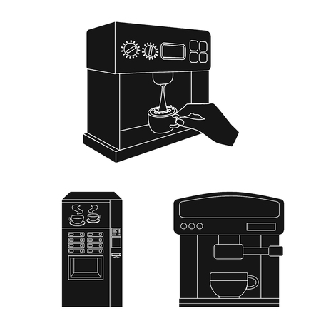 Isolated object of coffee and machine sign. Set of coffee and kitchen stock symbol for web.