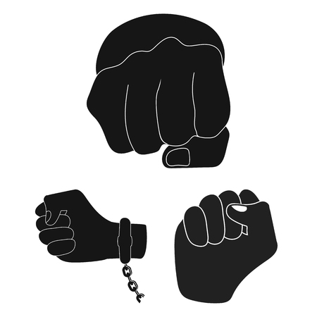 Isolated object of fist and punch sign. Collection of fist and hand vector icon for stock.