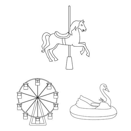 Vektordesign von Spaß- und Pferdezeichen. Sammlung von Spaß- und Zirkusvorrat-Vektorillustration.