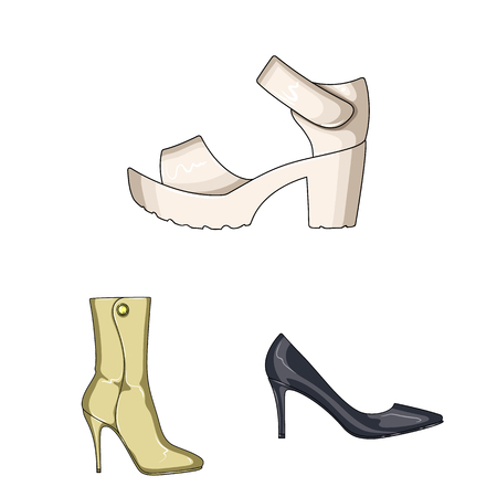 Vector illustration of heel and high logo. Collection of heel and stiletto stock vector illustration.