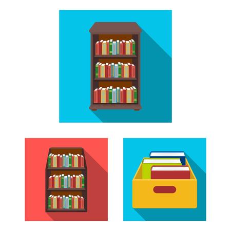Disegno vettoriale di e segno di libreria. Collezione di icone vettoriali e libri di testo per stock.