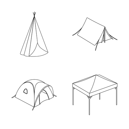 Vector illustration of tent and camp sign. Collection of tent and forest stock vector illustration.