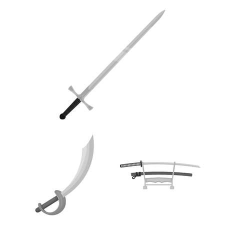 Vector illustration of sword and blade logo. Set of sword and game  stock vector illustration.