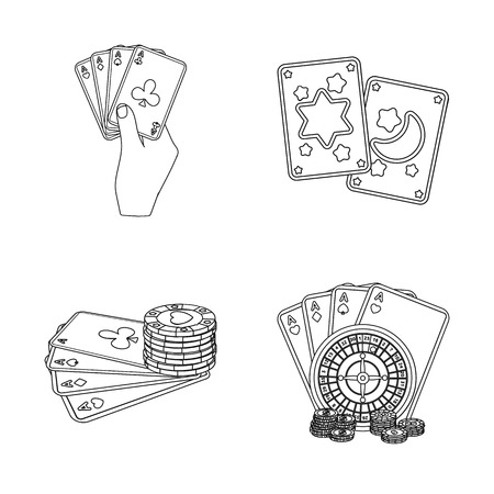 Isolated object of game and magic icon. Collection of game and poker stock symbol for web.