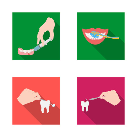 Vector illustration of tooth and happy sign. Set of tooth and whitening vector icon for stock. Çizim