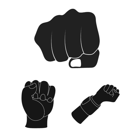 Vector design of fist and punch sign. Collection of fist and hand stock symbol for web. Ilustrace