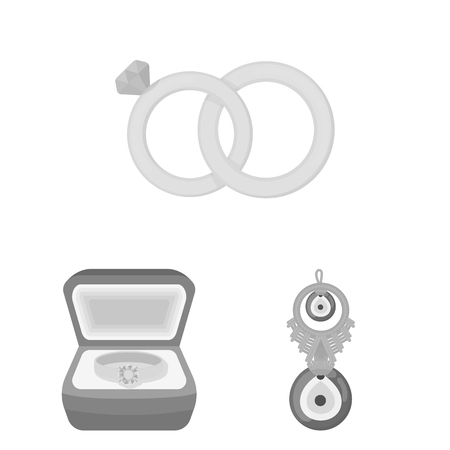 Isolated object of jewelery and necklace logo. Set of jewelery and pendent stock symbol for web. Logos