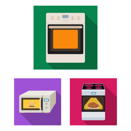 Isolated object of food and inside symbol. Set of food and cooker stock vector illustration.