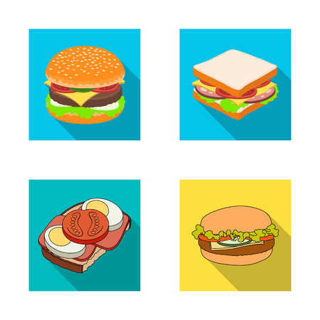 Vector illustration of sandwich and wrap logo. Collection of sandwich and lunch vector icon for stock.