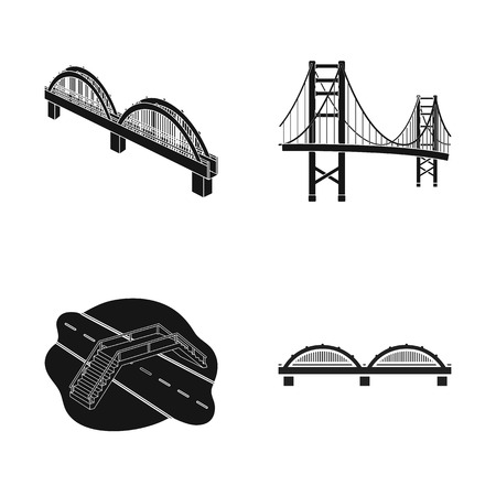 Vector illustration of bridge and construction icon. Collection of bridge and arch stock symbol for web.