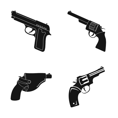 Isolated object of revolver and pistol symbol. Set of revolver and trigger stock symbol for web.