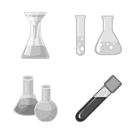 Vector design of flask and laboratory symbol. Set of flask and equipment stock symbol for web.
