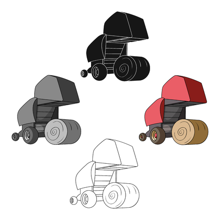 Round hay bales. Modern agricultural machinery for  of hay and rolling circles.Agricultural Machinery single icon in cartoon style vector symbol stock illustration.