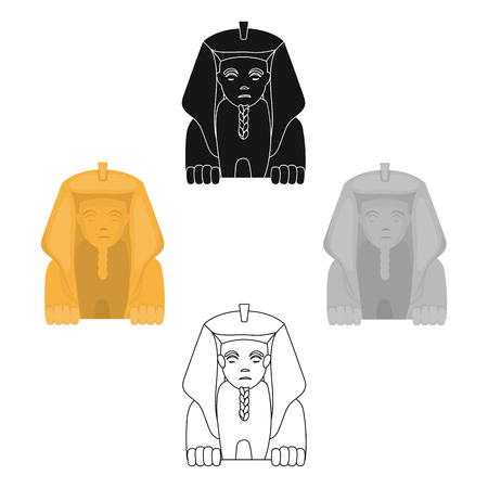 Sphinx icon in cartoon style isolated on white background. Ancient Egypt symbol stock vector illustration.