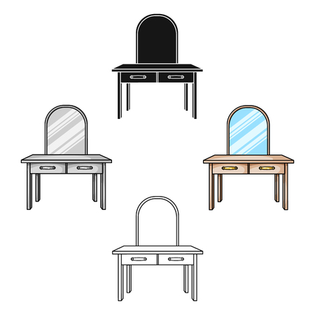 Dressing table icon in cartoon style isolated on white background. Furniture and home interior symbol stock vector illustration.