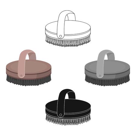 Horse body brush icon in cartoon style isolated on white background. Hippodrome and horse symbol stock vector illustration. 向量圖像