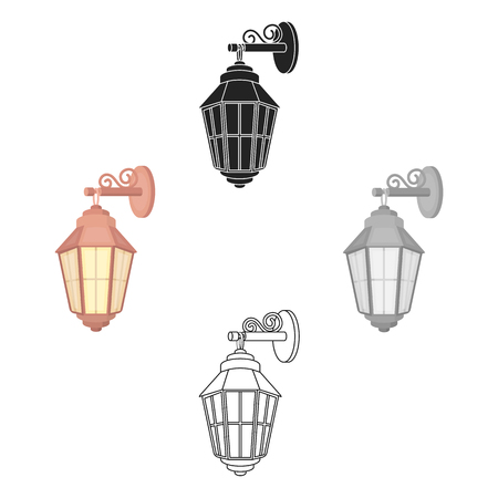 Street lantern icon in cartoon style isolated on white background. Light source symbol stock vector illustration Stock Illustratie