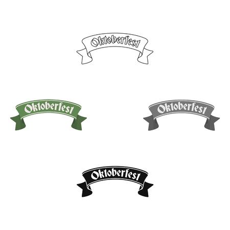 Oktoberfest banner icon in cartoon style isolated on white background. Oktoberfest symbol stock vector illustration. Ilustrace