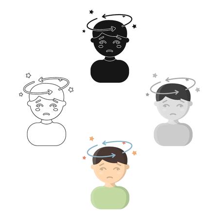 Dizziness icon cartoon. Single sick icon from the big ill, disease cartoon.