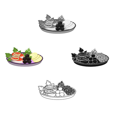 Eating fish and salad. Eating and cooking single icon in cartoon style vector symbol stock illustration web.