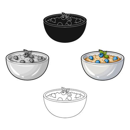 Delicious vegetarian porridge.Porridge for vegetarians blueberry.Vegetarian Dishes single icon in cartoon style vector symbol stock illustration.