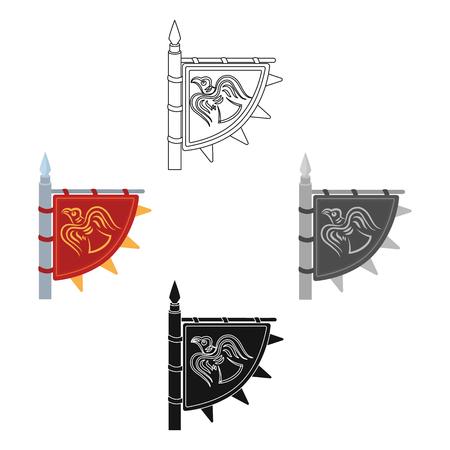 Vikings flag icon in cartoon style isolated on white background. Vikings symbol stock vector illustration. Stock Illustratie